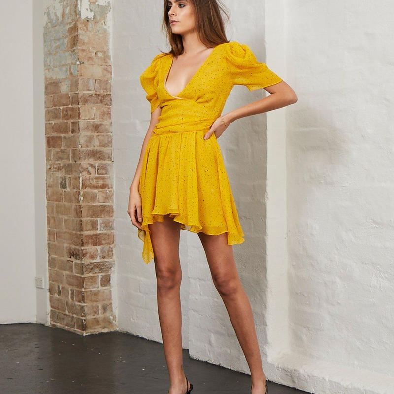BEC & BRIDGE   Yellow Hibiscus Golden Mini Dress ワンピース