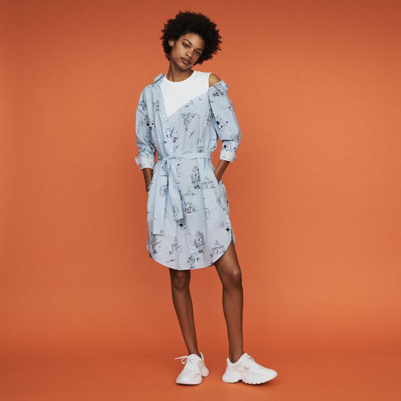 Maje マージュ TROMPE L'OEIL PRINTED SHIRT DRESSワンピース 定価$250