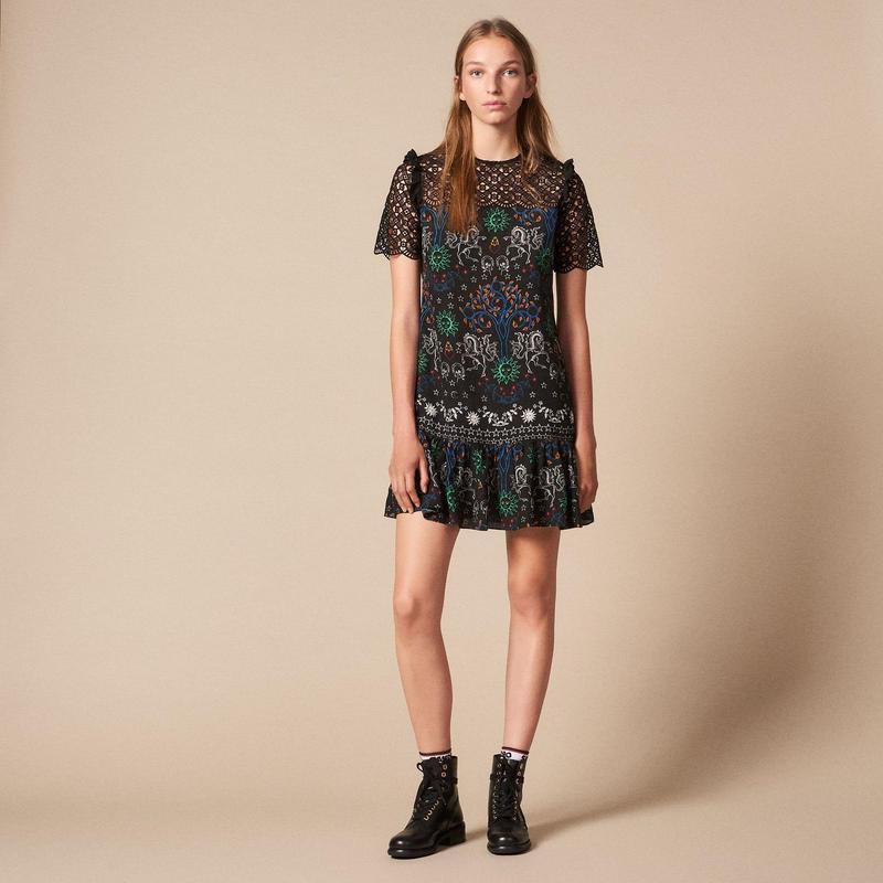 sandro サンドロ    SHORT PRINTED SHIRT DRESS ワンピース $450