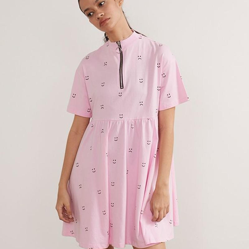 LAZY OAF  Short Sleeve Smock Dress In Faces Print With Zip