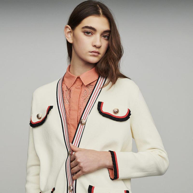 Maje マージュ Long block-knit jacket ジャケット 定価$415