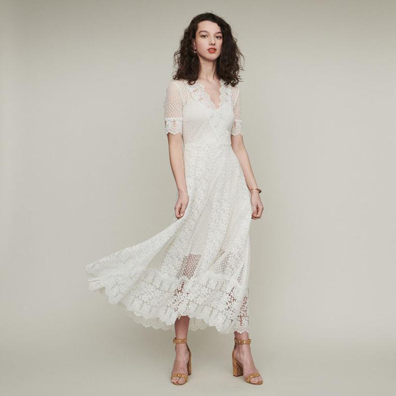 Maje マージュ LONG SWISS DOT DRESS WITH DAISY LACEワンピース 定価$445