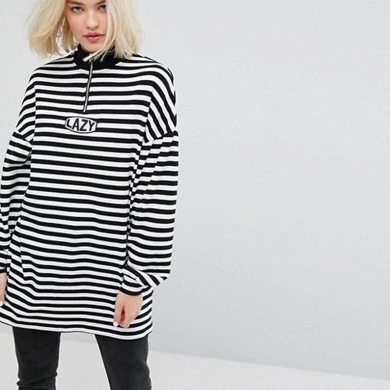 LAZY OAF  Oversized Zip Neck Sweatshirt With Lazy Embroidery In Stripe