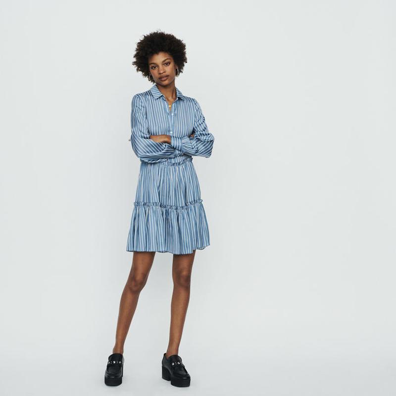 Maje マージュ Striped shirt dress with ruffles ワンピース 定価$295