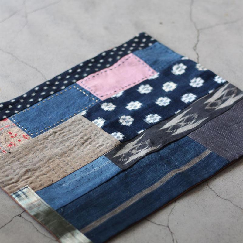 古布襤褸×柿渋染め リメイクのランチョンマット/籠掛け布 藍染 かすり 刺し子