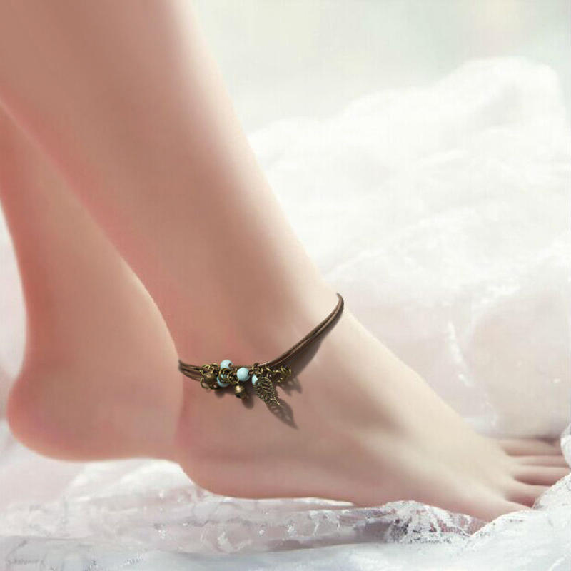Leaf charm Antique look Anklet