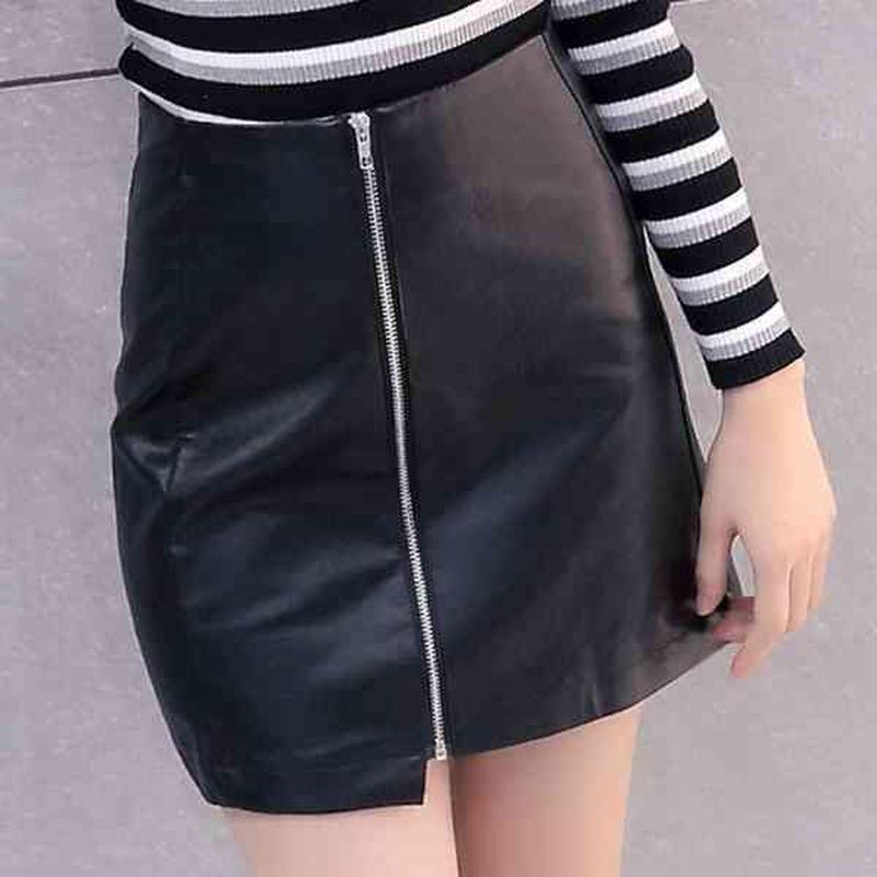 fakeleather zipper miniskirt