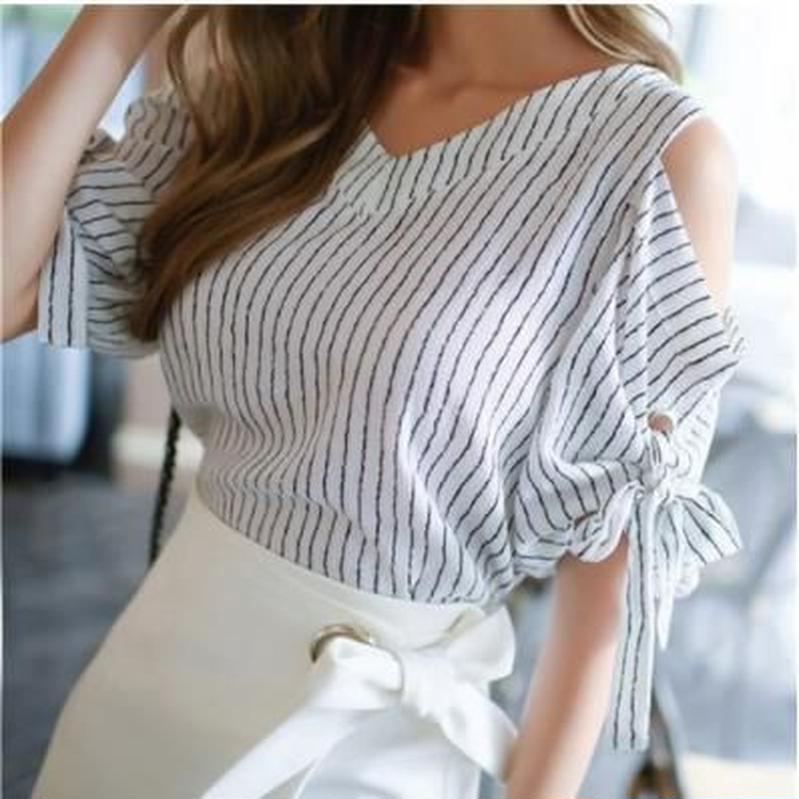 Stripes Ribbon Off shoulder Blouse