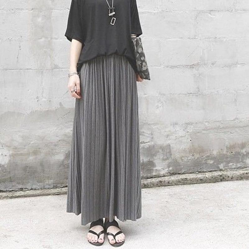 マキシ丈 プリーツ スカート ブラック ハイウエスト 美脚 体型カバー ロングスカート シンプル 韓国ファッション レディース 黒 ブラック グレー