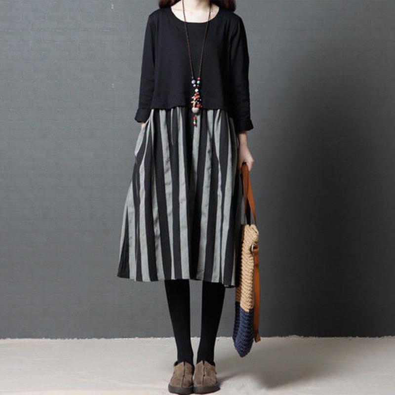 【L】レディース カジュアル ファッション ストライプ ワンピース ドレス 長袖 ラウンドネック 着痩せ 切り替え 黒 ブラック