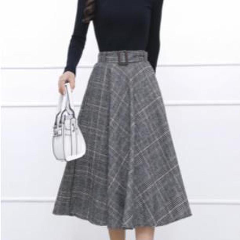 glen check flare skirt
