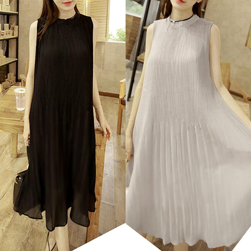 Sleeveless Pleat Chiffon Flare Dress