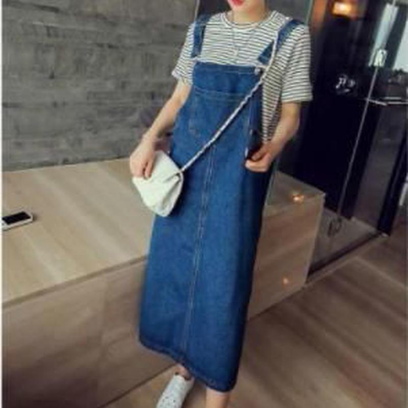 Denim salopette skirt