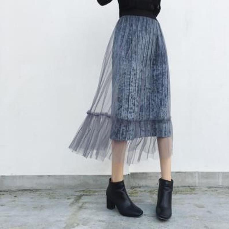 tulle pleats skirt