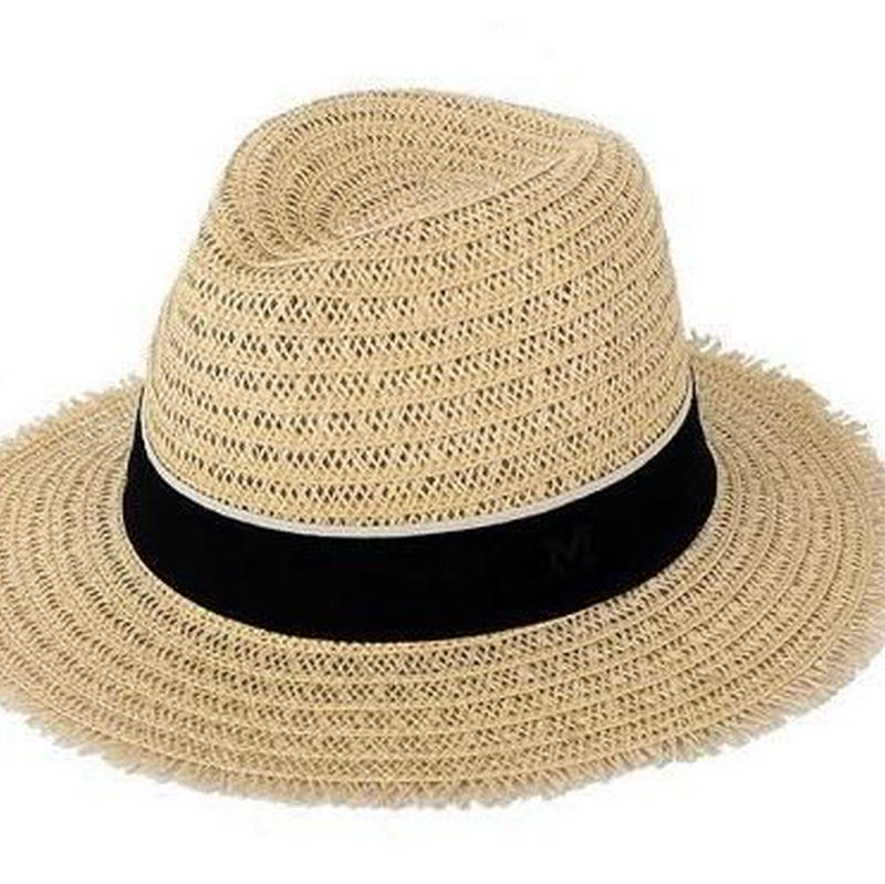 麦わら帽子 レディース 中折れ リボン つば広 紫外線対策 春 夏