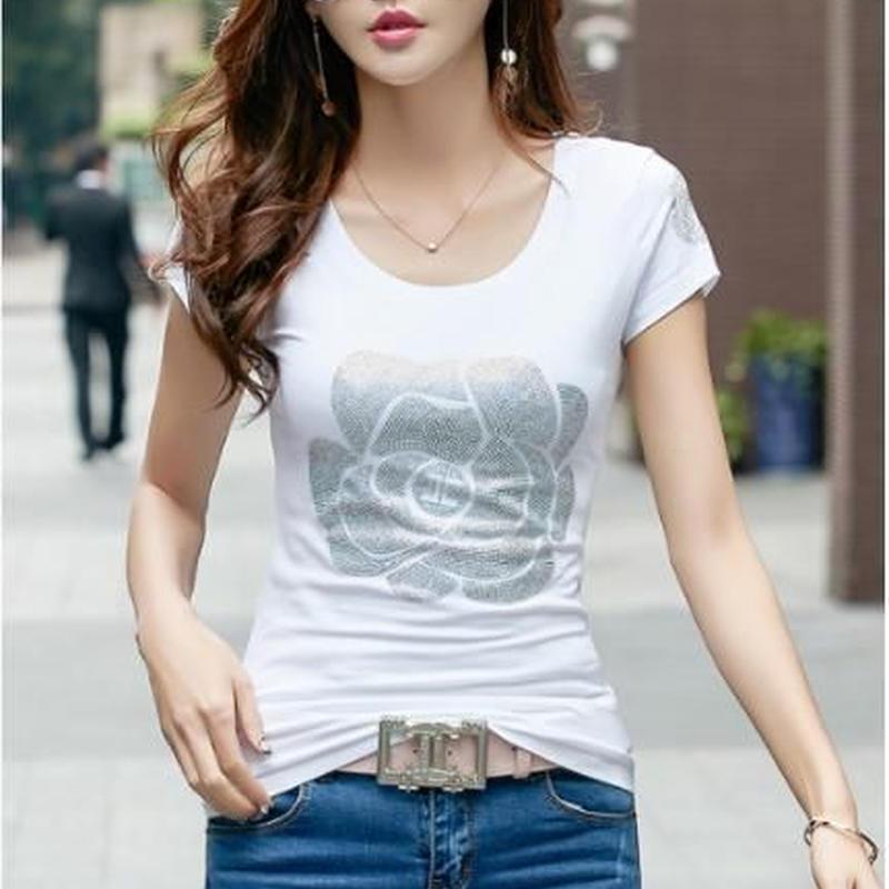 ローズ 半袖カットソー Tシャツ 刺繍 ビジュー スパンコール