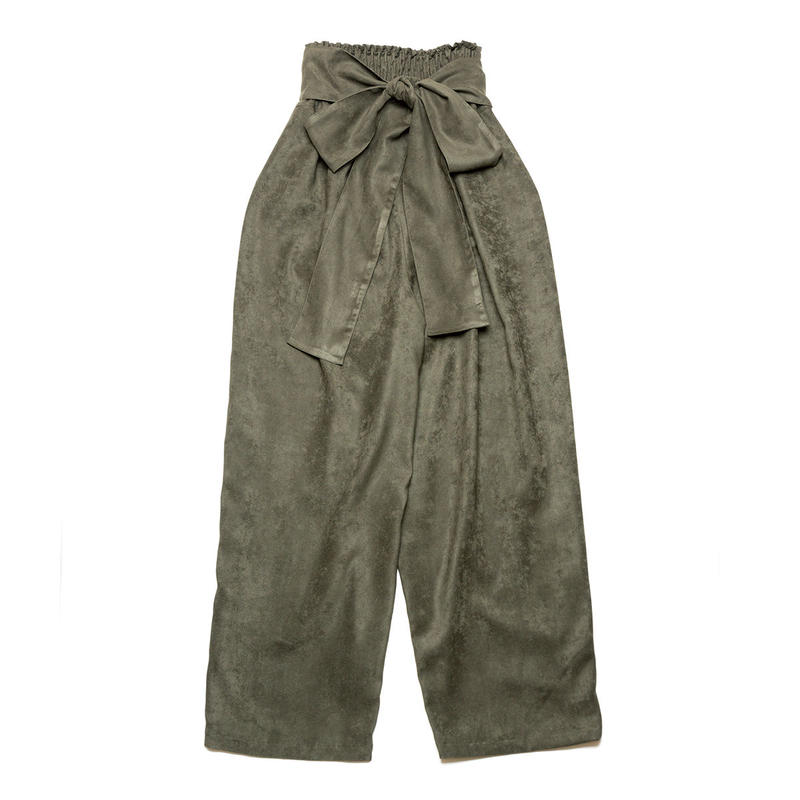 PA8AW-PT03 SUEDE BIG RIBBON WIDE PANTS