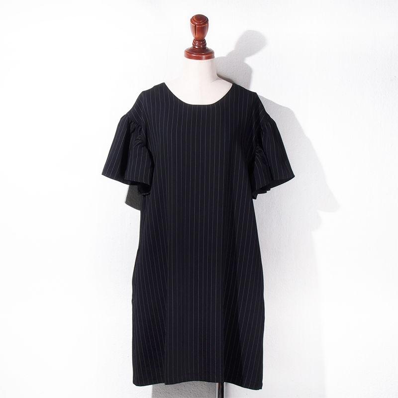【SALE】1501-05-106 Pinstripe Gathered Sleeve Dress