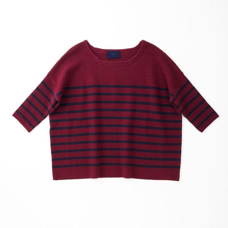 PAKT-02  WIDE PULLOVER - WAFFLE BORDER KNIT