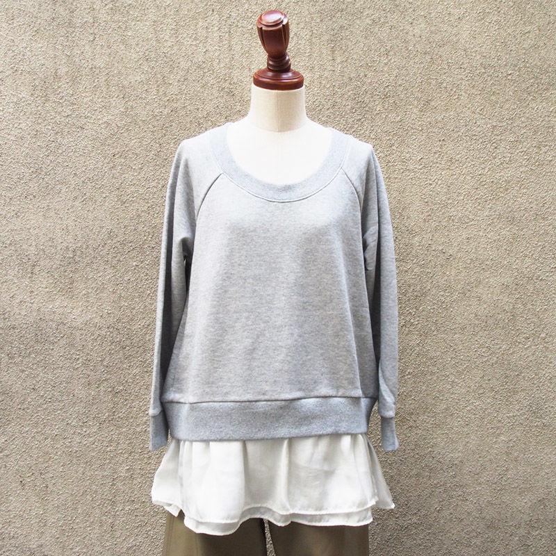 【SALE】1404-06-103 Sweat × Satin Top
