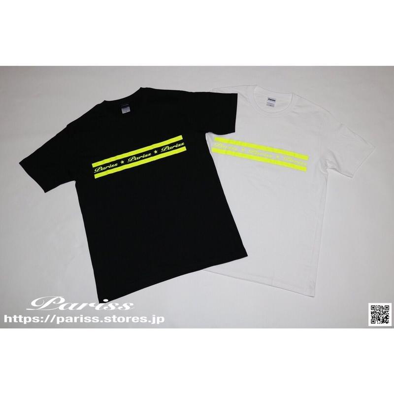 【新作】ラインロゴTシャツ【ブラック×蛍光イエロー・ホワイト×蛍光イエロー】