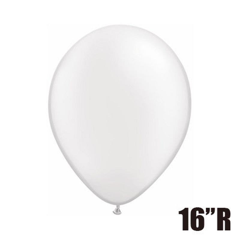 【ゴムバルーン】16インチ パールホワイト/5個セット 約42cm ラウンド 無地 [BG0104-43895-P]