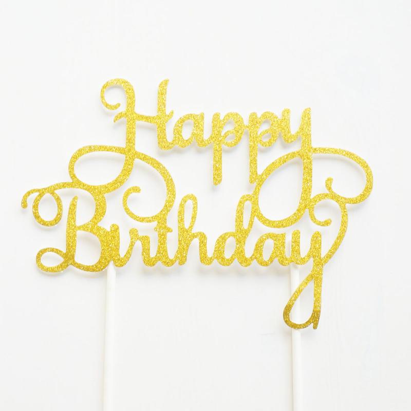 【SOCO'sセレクトシリーズ】スクリプトケーキトッパー/Happy Birthday/グリッター[ZZ0903-SC309]