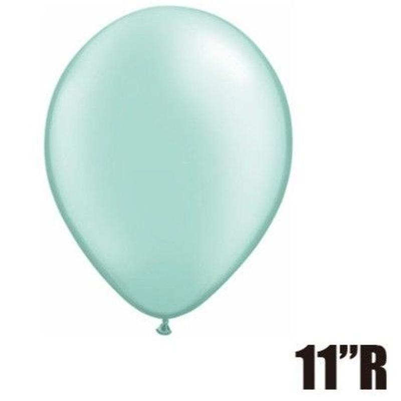 【ゴムバルーン】11インチ パールミントグリーン/5個セット約28cm ラウンド 無地[BG0103-43781-P]