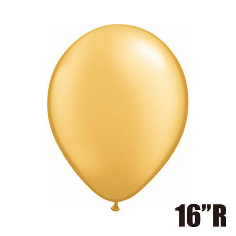 【ゴムバルーン】16インチ ゴールド/5個セット約42cm ラウンド 無地[BG0104-43868-P]