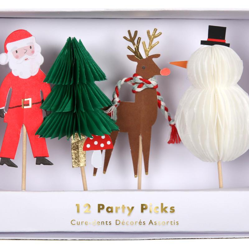 【MeriMeri】パーティーピック/X'masクリスマス/4種×3本セット [MM0205-45-2929]