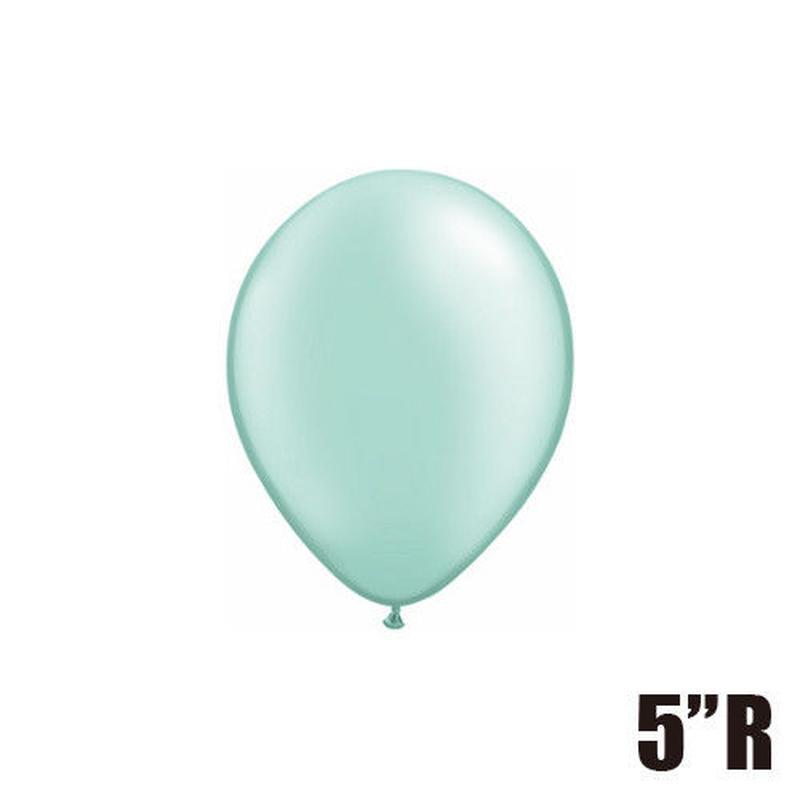 【ゴムバルーン】5インチ パールミントグリーン/5個セット 約13cm ラウンド 無地 [BG0101-43590-P]
