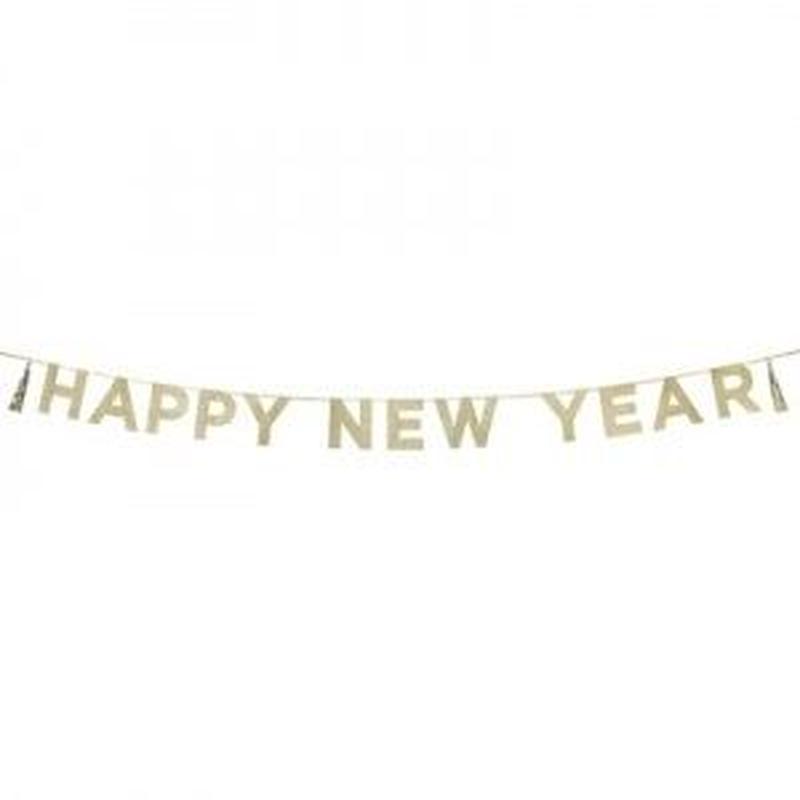 【Talking Tables】パーティーバナー/ゴールド/HAPPY NEW YEAR  [TT0101-SAY-HNY]