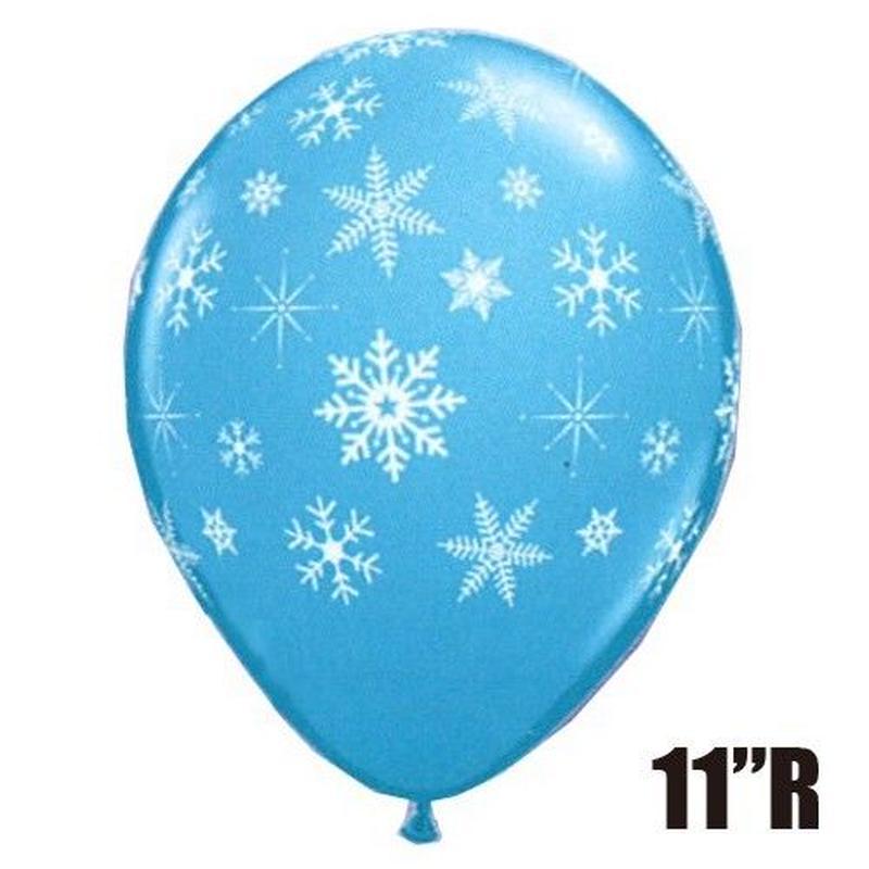 【ゴムバルーン】11インチ スノーフレーク&スパークルアラウンド/ロビンズエッグ ブルー/5個セット 約28cm  ラウンド 絵柄 [BG0203-40573-P]