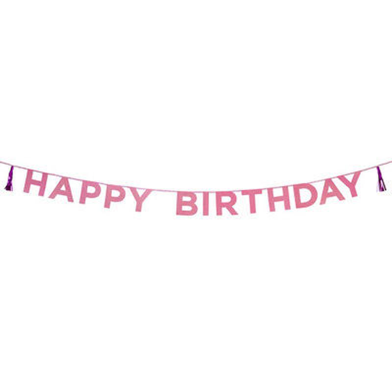 【Talking Tables】ガーランド/Happy Birthday/ピンク  [TT0101-SAY-HBーPNK]