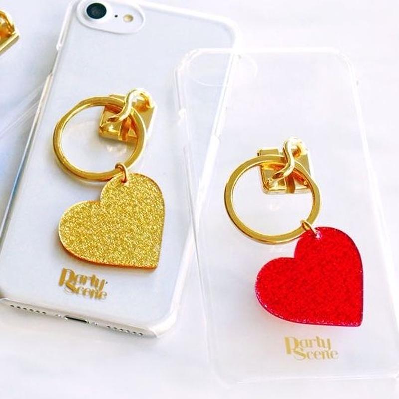 【iPhoneXR,X,XS,7-8plus,6-8対応】キラキラハートiPhoneケース(リングスタンド機能付)