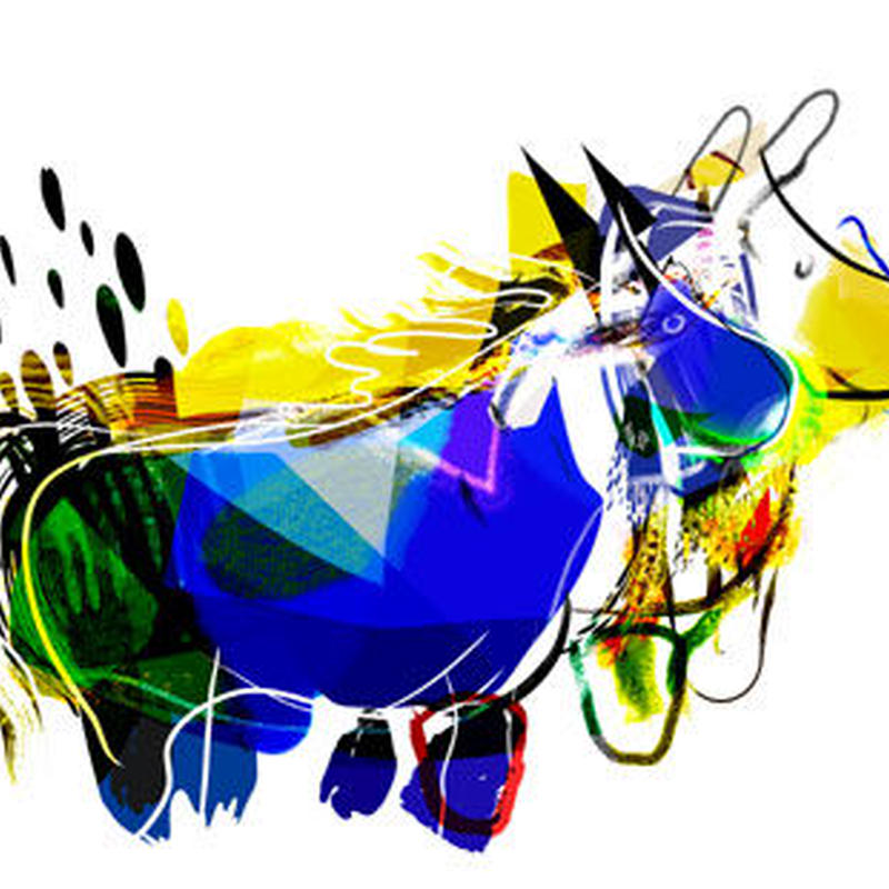 Blue Ponyy & Ellow Dog