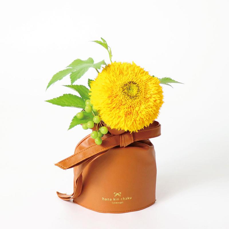 花巾着 (hana kin chaku) | PU Leather | S | キャラメル