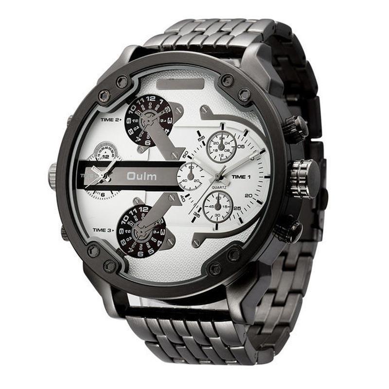 Oulm ビッグ腕時計 高級ブランド デザイナークォーツ時計 フル鋼レザーストラップ腕時計 50