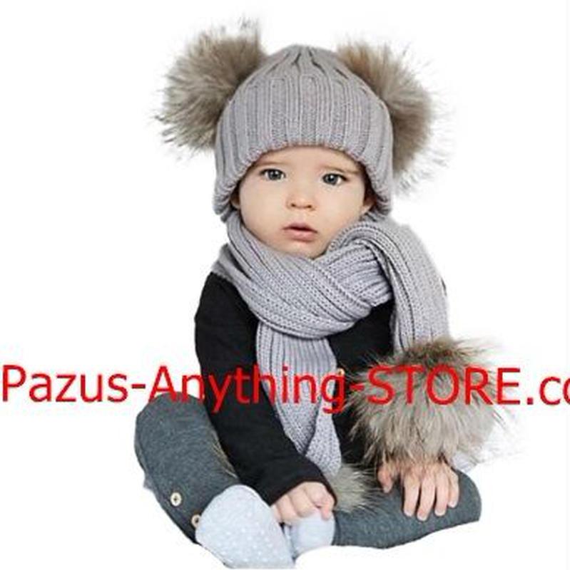 ダブルポンポン ポンポン帽子 マフラーセット 暖かいニット ネックウォーマー 9/27iq