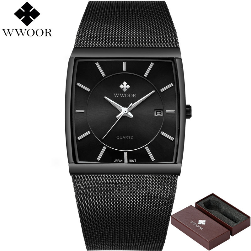 Wwoor 防水 クォーツ時計 トップブランド 高級鋼ストラップスポーツ ウォッチ腕時計 レロジオmasculino