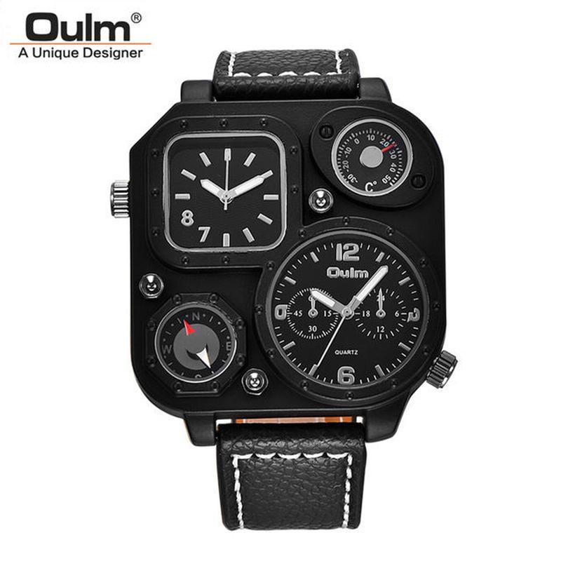Oulm 限定版ユニークな黒腕時計 メンズスポーツクォーツ腕時計 二つのタイムゾーンクロック装飾コンパス 温度計 39