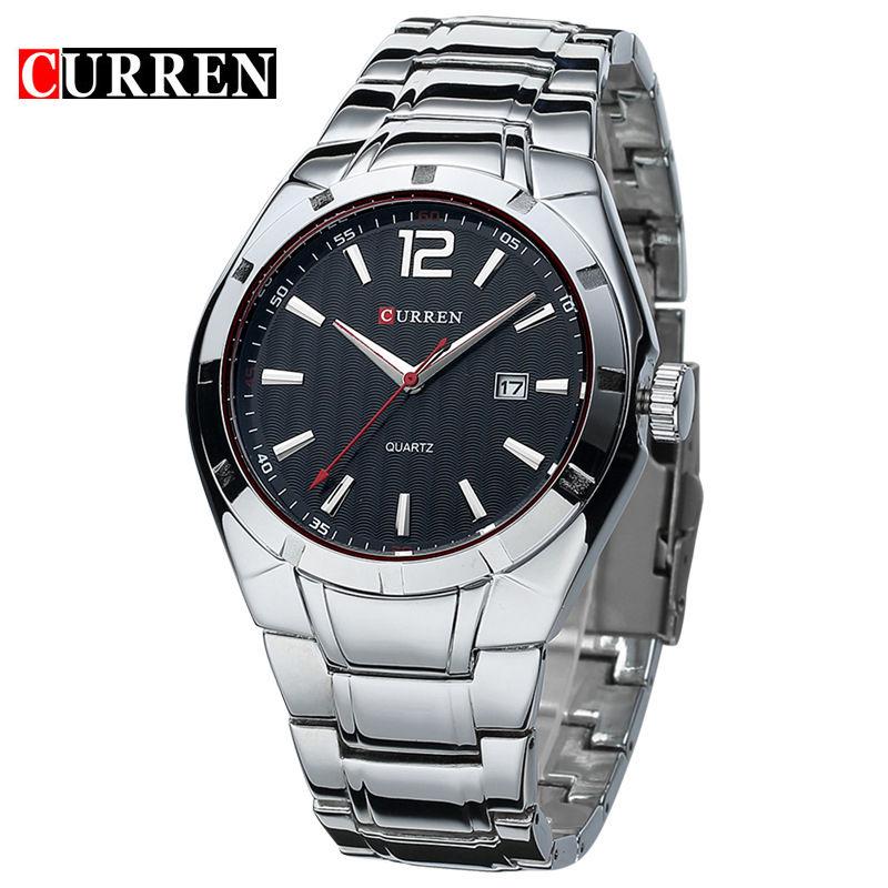 カレン ブランド時計 フルスチールストラップ アナログ日付メンズクォーツ時計 カジュアル腕時計 100