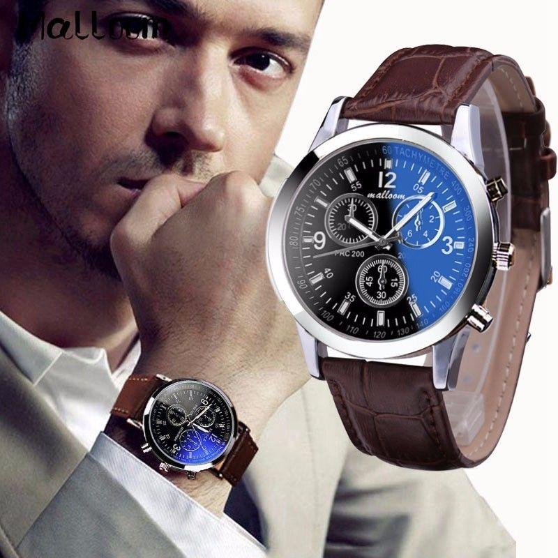 Malloom メンズローマ数字ブルーレイガラス腕時計 男性高級レザーアナログクォーツビジネス腕時計 メンズ時計 57
