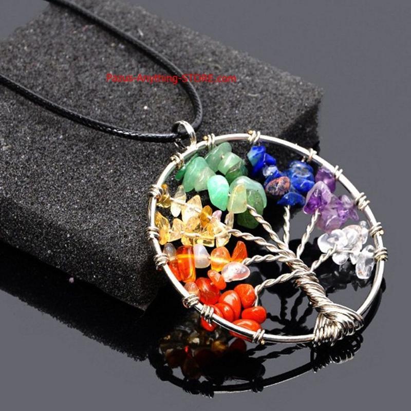 ライフツリー 石英チップペンダント 女性 レインボー チャクラ結晶 多色知恵天然石ネックレス 1665 9/25