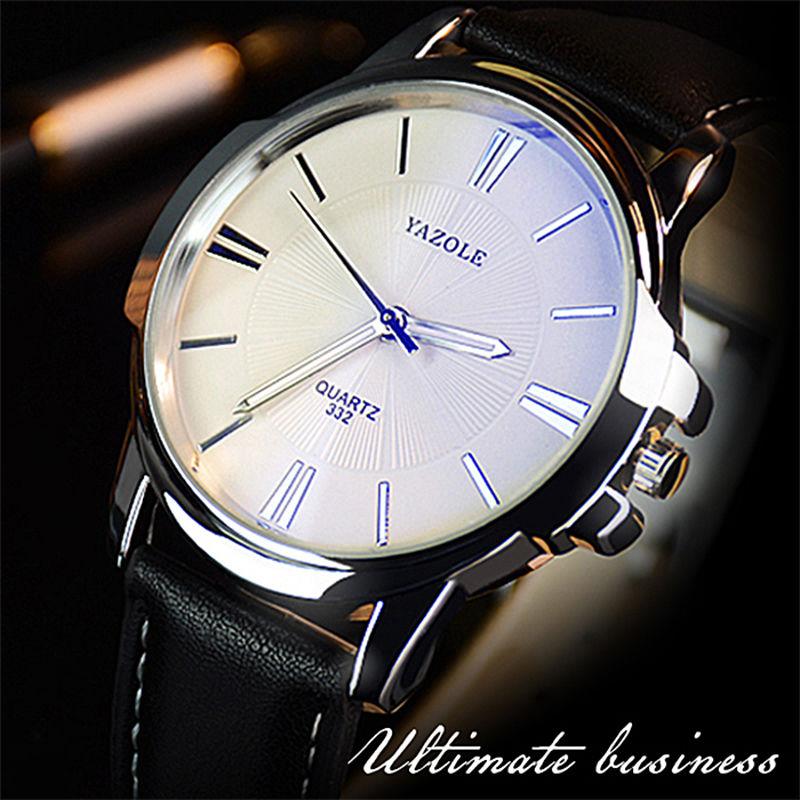 Yazole メンズウォッチ トップブランド ブルーガラス時計 男性腕時計 防水 レザー 63