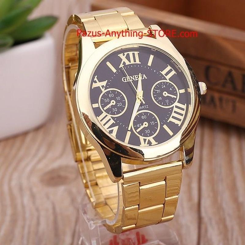 レディース時計 ゴールドジュネーブカジュアルクォーツ腕時計 女性ステンレス鋼 ドレス時計 1760 9/25