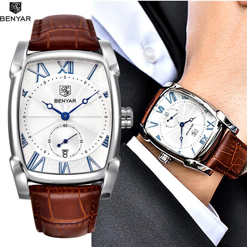 Benyar 高級ブランド 石英メンズ腕時計 ミリタリーレザー 防水 28