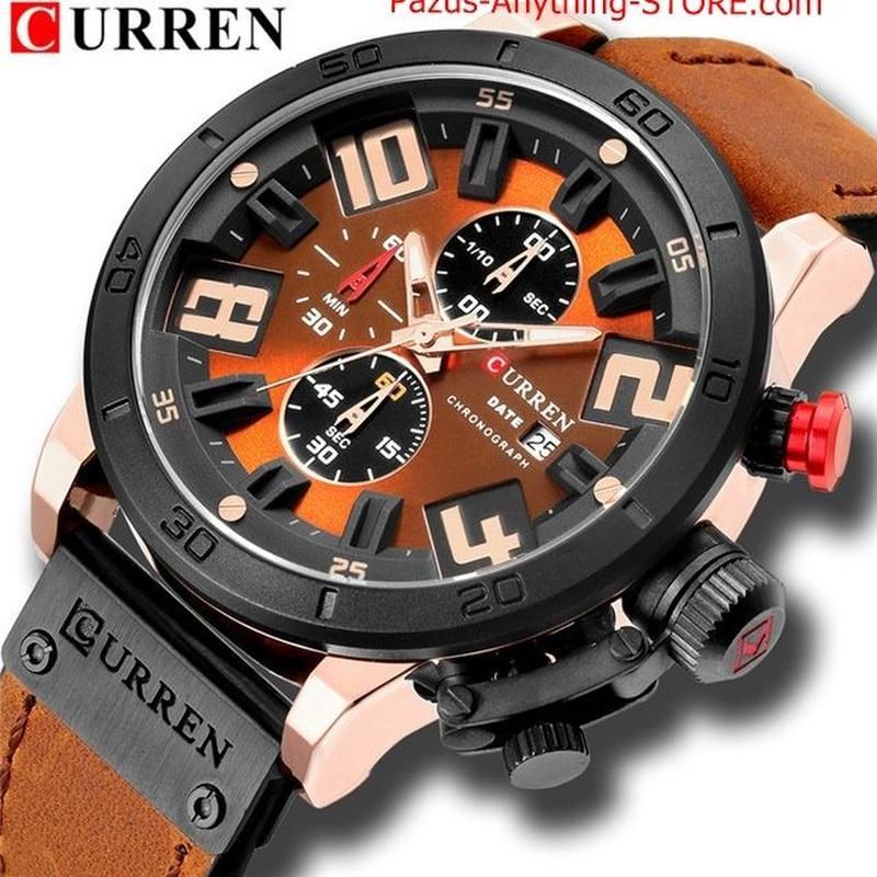 メンズ腕時計 ゴールド 男性時計 レザーストラップ スポーツクォーツ時計 屋外カジュアル腕時計 1750 9/25