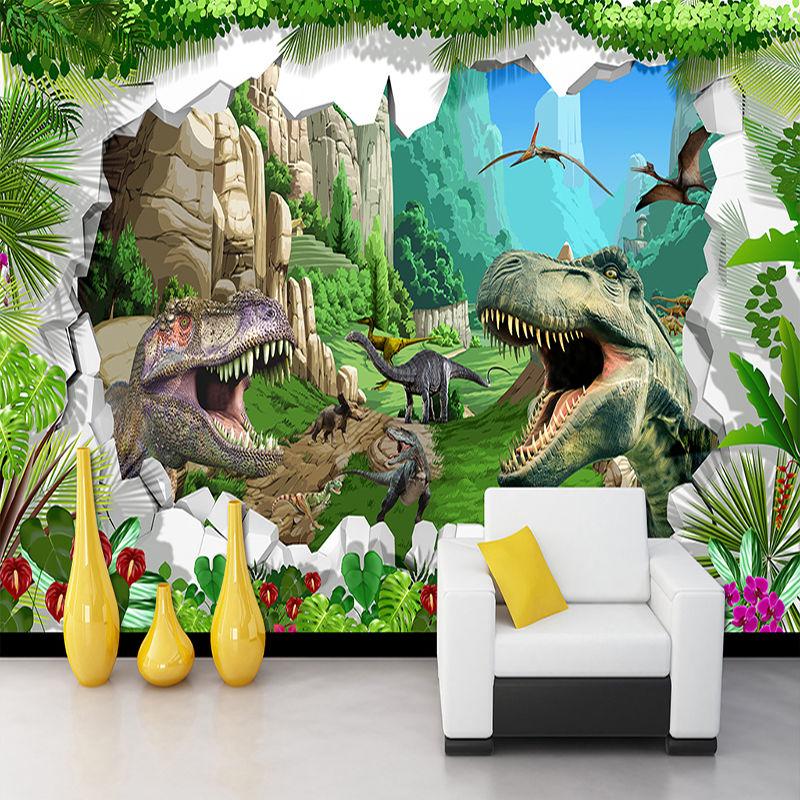 カスタム壁画壁紙 3D 漫画 恐竜 リビングルーム テレビ 背景壁画 子供部屋 寝室 514 7/17