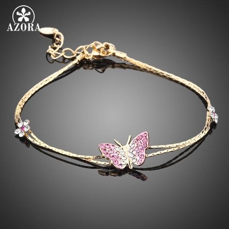 Azora ゴールドカラー クリスタル蝶と花チャームブレスレット 259